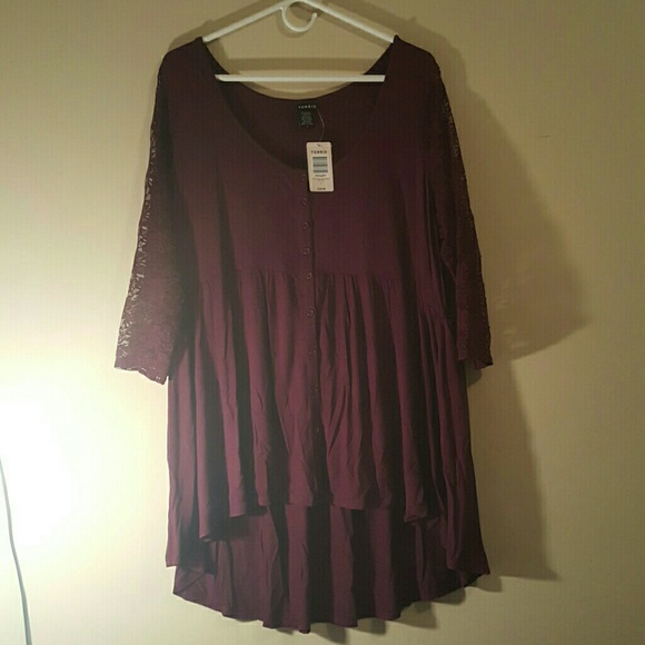 2e61f4f9dc8 Torrid purple top with long lace sleeves NWT